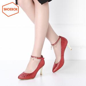 达芙妮旗下shoebox鞋柜春季新款潮甜美尖头单鞋 亮片高跟女鞋