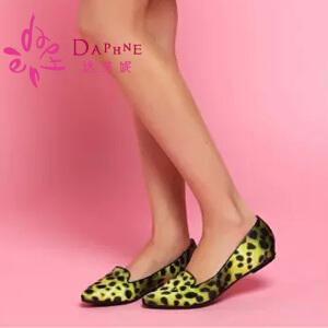 Daphne/达芙妮女鞋 简约休闲豹纹简约休闲平跟尖头单鞋1014101184