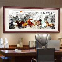 十字绣成品客厅办公室公司会议室出售绣好的马到成功八骏图 图片色