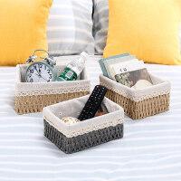 桌面收纳盒家用客厅茶几杂物钥匙框化妆品桌面零食藤编织篮收纳筐