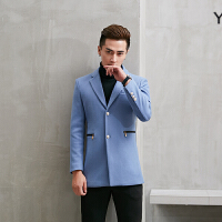 风衣男中长款秋冬季韩版修身型男士毛呢大衣男装呢子外套衣服上衣
