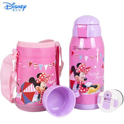 Disney迪士尼双效550ML保温杯儿童双盖不锈钢带杯套吸管直饮保温壶