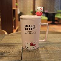 创意可爱卡通韩国情侣陶瓷咖啡马克杯带盖勺子牛奶早餐茶杯喝水杯