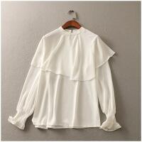 夏季新品圆领薄款纯色宽松长袖套头雪纺衫女24487