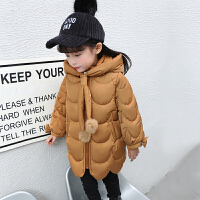 女童棉衣新款中长儿童冬季韩版羽绒加厚外套宝宝棉袄冬装 焦糖色 时尚