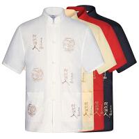 中年男士唐装短袖夏季汉服民族服装立领中老年中式盘扣爸爸中国风