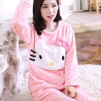 韩观秋冬季可爱卡通加厚睡衣动物珊瑚绒长袖女士法兰绒睡衣套装家居服
