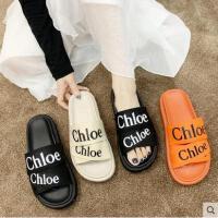 新款时尚网红拖鞋女士韩版一字拖外穿百搭凉拖鞋平底厚底