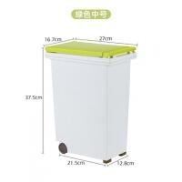 分类垃圾桶家用大厨余垃圾方形带盖创意按压式厨房干湿分离垃圾桶 绿色中号 10L