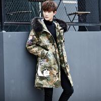 冬季男士中长款羽绒服青年大毛领连帽羽绒衣潮流加厚保暖迷彩外套 绿色