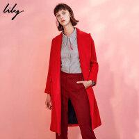 Lily春秋新款女装时髦OL挺括直筒大红毛呢大衣117410F1509