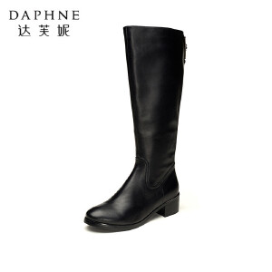 达芙妮长靴秋冬季保暖粗跟中跟长筒靴子圆头欧美真皮女鞋高筒靴