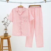 情侣睡衣夏季短袖长裤纯棉纱布家居服薄款起居服全棉男女睡衣套装