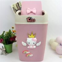垃圾桶卡通猫KT猫小麦秆垃圾筒办公室洗手间自动闭合摇盖垃圾桶 HELLO KITTY(7升容量) 30CM高
