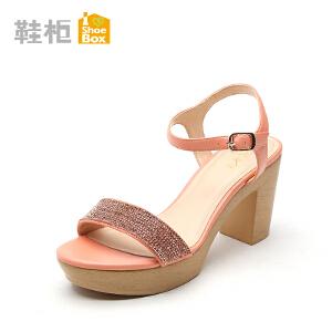 达芙妮旗下shoebox鞋柜女鞋 串珠装饰一字面凉鞋罗马鞋粗跟高跟鞋
