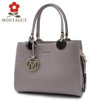 梦特娇Montagut 2017新款女包欧美时尚手提包女士单肩包斜挎包真皮包包