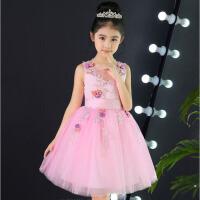 儿童礼服舞台演出服蓬蓬裙夏 花童礼服蕾丝钢琴表演裙女童生日六一 粉 红色