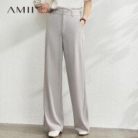 Amii气质通勤条纹雪纺阔腿裤长裤夏季新款高腰显瘦百搭裤子女