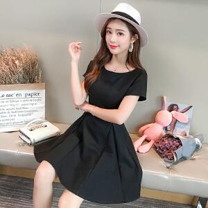 【每满200减100元】演沃 2018夏新款一字肩小黑裙法式少女红色连衣裙