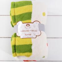 家纺柔软圣诞树印花法兰绒折边毯午休毛毯盖毯休闲毯沙发毯 127cmX178cm