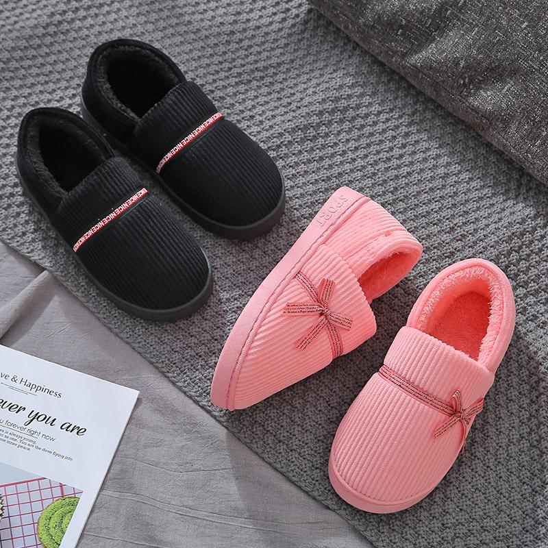 棉拖鞋女包跟家居家用情侣厚底防滑毛毛绒保暖可爱室内月子拖鞋男