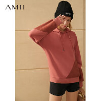 【到手价:130元】Amii极简时髦炸街拼色连帽卫衣女2020秋冬新款加绒宽松上衣潮ins