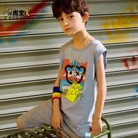 【任选专区3件89元】小虎宝男童背心纯棉2021年夏季新款儿童无袖t恤中大童潮