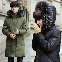 冬装男士韩版修身羽绒服加厚保暖连帽真毛领中长款青少年潮流外套