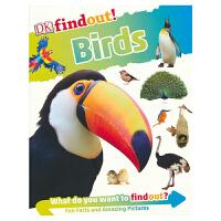 【首页抢券300-100】DK Findout Birds DK出版社发现系列 鸟类 英语百科科普知识 流畅讲解 全彩插