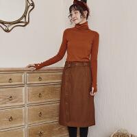 加厚呢料半身裙冬高腰百搭显瘦复古中长款收腰直筒裙女 预售至号