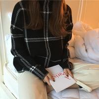 秋冬女装韩版chic兔绒纱高领格子针织上衣学生宽松显瘦套头毛衣女