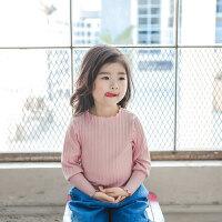 2018年童装新款T恤 女童春装女童打底衫糖果色上衣 8012