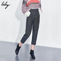 【3件2折 到手价100】Lily春款 女装时髦复古灰小格子奶奶裤九分哈伦裤锥形裤5940/5948