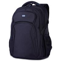 男双肩背包商务背包双肩电脑包休闲男包旅行包15.6寸fj 黑色/黑色