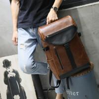 双肩包疯马皮潮流男休闲旅行大容量男士背包学生书包韩版复古 咖啡色