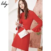 Lily春新款女装商务通勤纯色不规则荷叶边连衣裙118120C7618