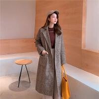chuu冬季毛呢大衣女2019秋冬新款韩版学生中长款呢子直筒格子外套