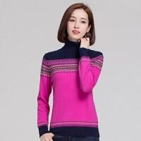 山羊绒衫女2017秋冬新款V领套头毛衣电脑提花短款针织羊绒衫