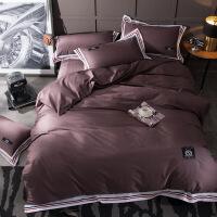 家纺全棉简约北欧风格纯色床品四件套纯棉1.8米床上用品40支床单被套