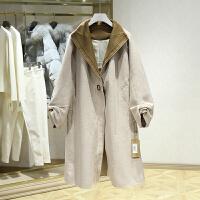 双面呢大衣女冬装新款 韩版宽松中长款过膝一粒扣毛呢外套