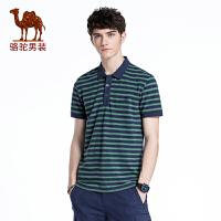 骆驼男装 年春季新款翻领条纹上衣 男青年微弹柔软短袖POLO衫