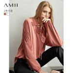 【到手价:138元】Amii极简chic法式ins衬衫2019秋新翻领绑带落肩袖宽松雪纺衫上衣