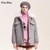 Five Plus女装格子毛呢外套女毛领夹克中长款宽松长袖复古