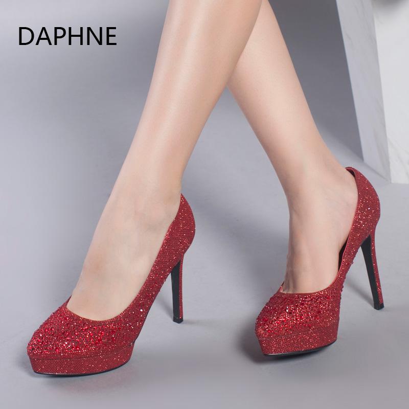 Daphne/达芙妮新款时尚 浅口水钻尖头细高跟女单鞋年末清仓,售罄不补货!
