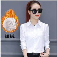 白色衬衫女长袖韩范纯棉修身职业装女式衬衣秋季花边袖加绒打底衫 白色 5842长袖加绒