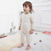 活力熊仔 童装冬季婴儿服装宝宝连体哈衣长袖夹棉保暖加厚天然彩棉男女爬服