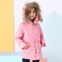 小卡鸭 女童羽绒服中长款2017冬装新款 毛领公主款中大童羽绒服