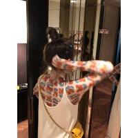 花朵印花打底衫长袖T恤女春2019修身短款紧身内搭上衣