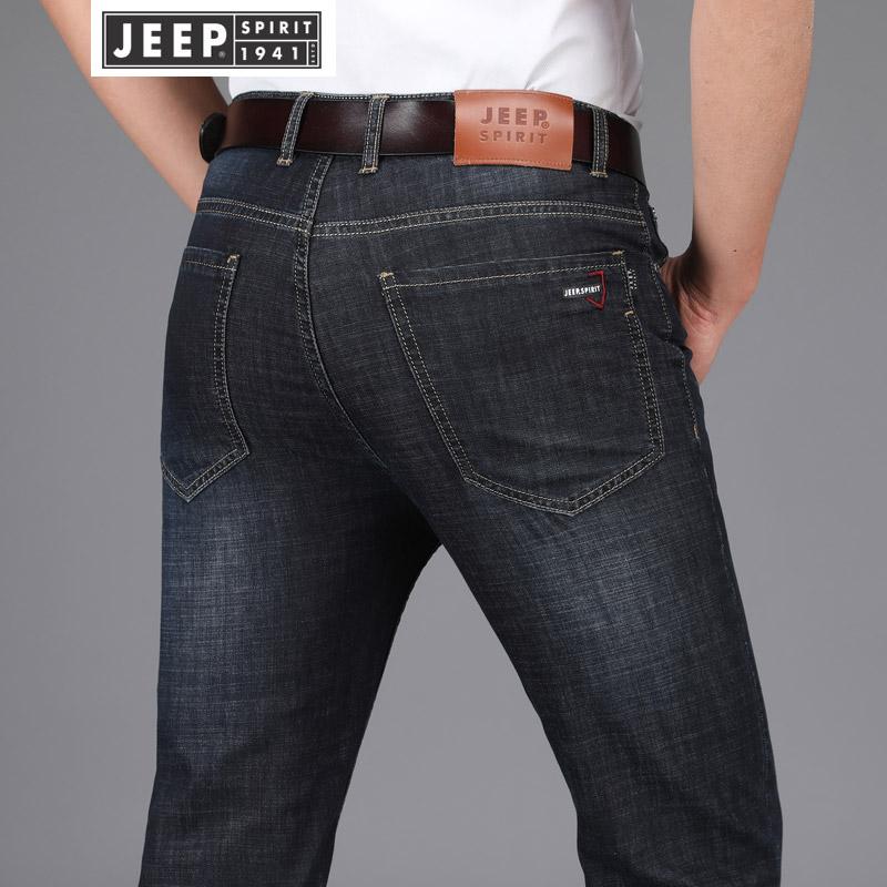 JEEP吉普牛仔裤男直筒弹力青年商务休闲牛仔长裤子男装