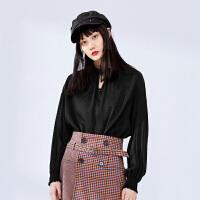太平鸟薄款雪纺上衣女2019夏季新款短款系带灯笼长袖纯色垂感女装